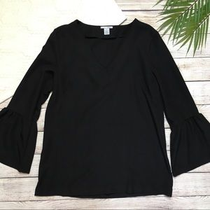 Halogen Black Bell Sleeve Top Size Small